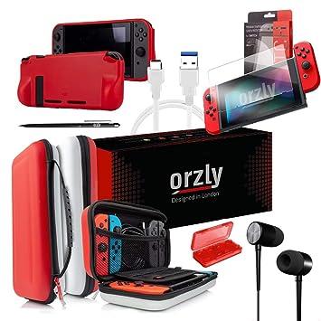 ORZLY® Pack de Accesorios Nintendo Switch (Funda de Viaje, Protector de Pantalla Switch, Cargador USB, Funda para Cartuchos, Funda Comfort Grip, ...