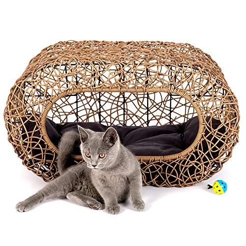 - Fun Stackable Wicker Cat Hideaway House - Interactive Play Rattan Cat House for Indoor Cats Kitty, Pet Friendly Top/Side House Entry, Cat Bed Enclosed