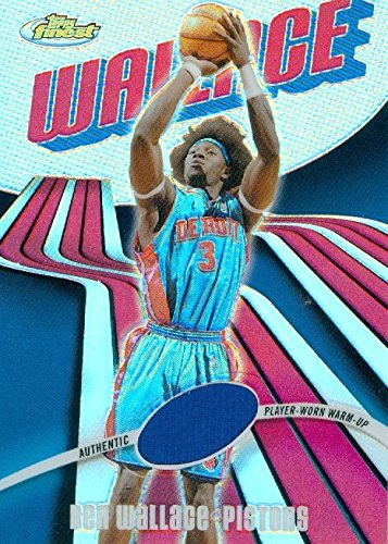 Ben Wallace player worn jersey patch basketball card (Detroit Pistons) 2004 Topps Finest Refractor #102 LE 190/250...