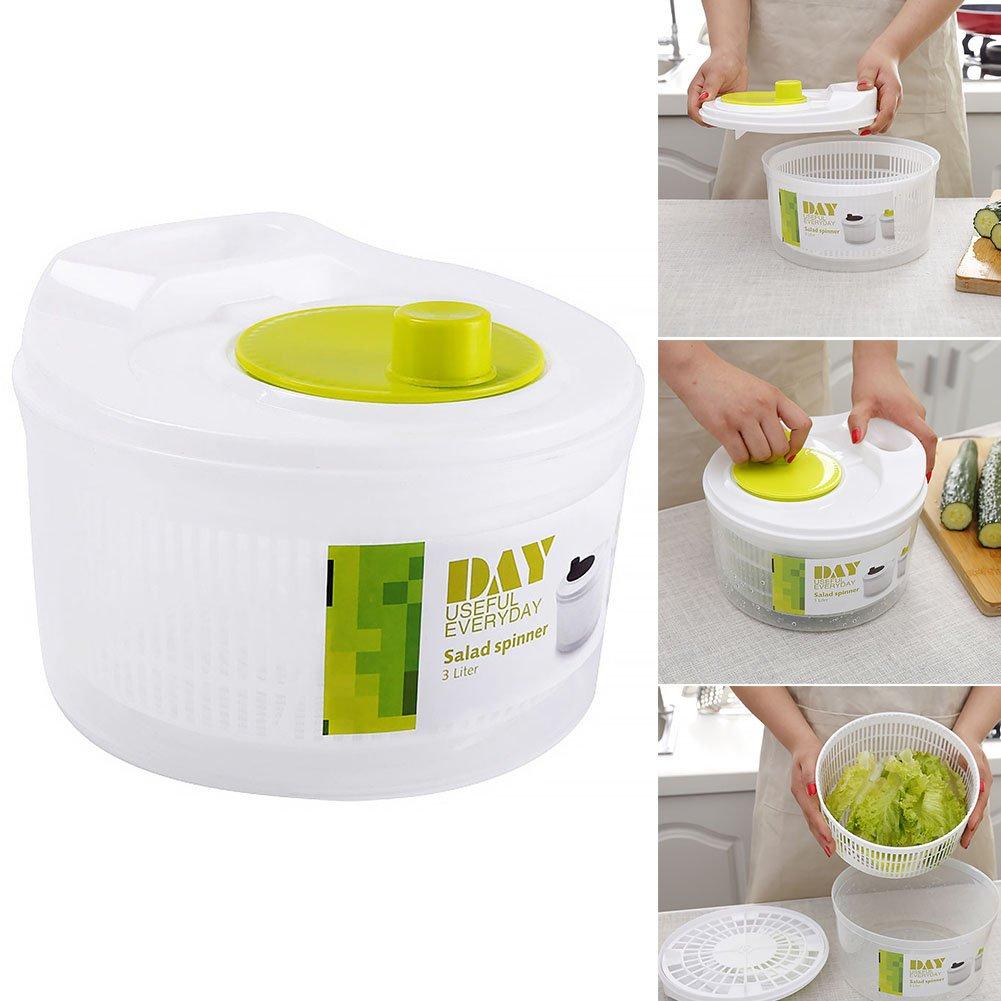 Salad Spinner, Large Leaf Salad Spinner with Serving Bowl, Colander Basket Easy Drain System, Non-Slip Base Washes, Dries and Dresses Lettuce, Vegetables Fruit, Salad Dressing Draining Bowl Ragdoll50