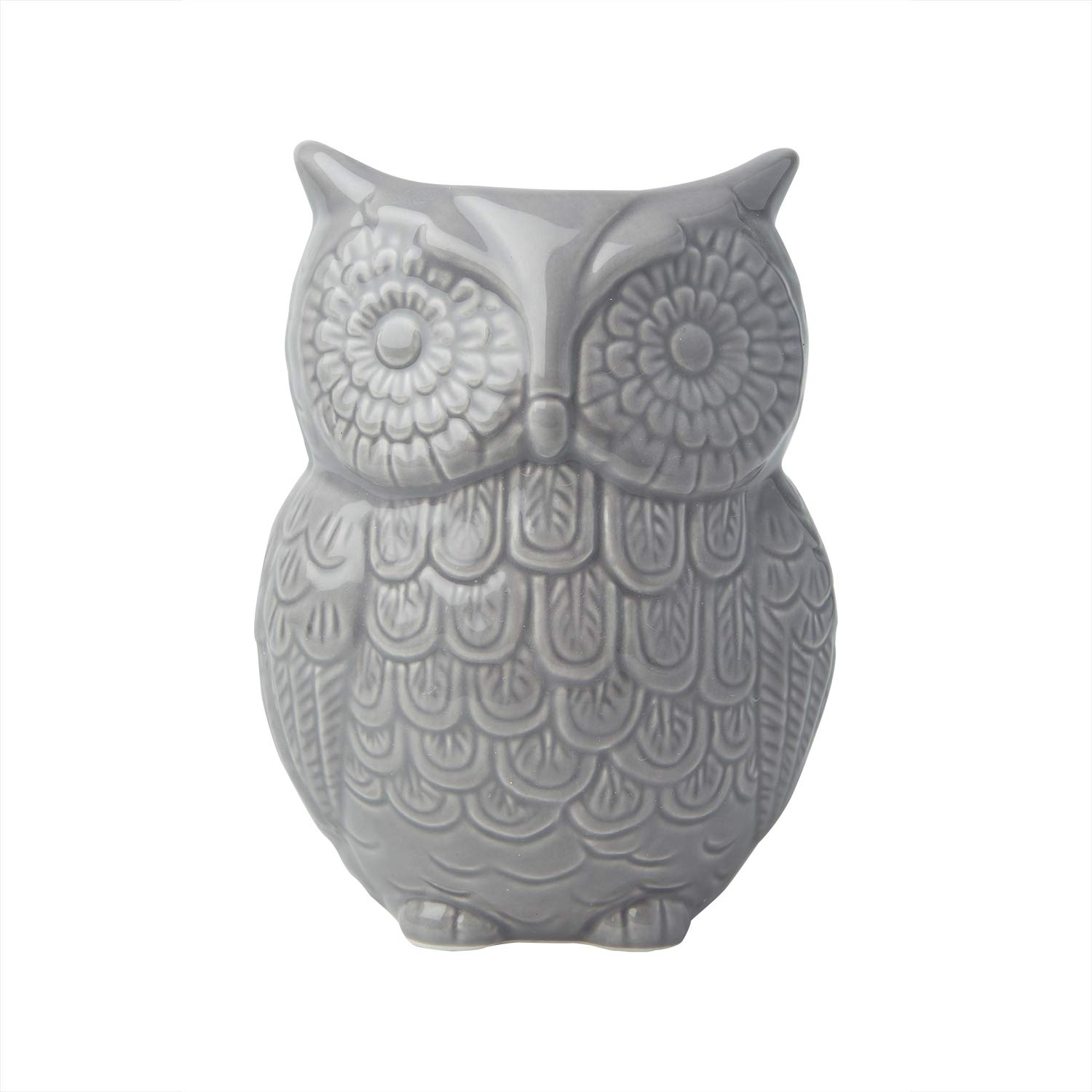 "Owl Utensil Holder by Comfify - Decorative Ceramic Cookware Crock & Organizer, in Lovely Grey Color - Utensil Caddy and Perfect Kitchen Ceramic Décor Gift - 5"" x 7"" x 4"" Size CER-0501-02-GY"