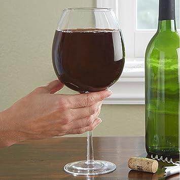Botella de vino en un vaso 26,5 oz 750 ml Enoteca grande gigante blanco rojo: Amazon.es: Hogar