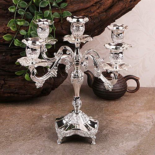 Metal Pillar Candle Holders Vintage Home Decor Tabletop Decor Candlestick Grape Pattern Carved Wedding Decoration (2) ()