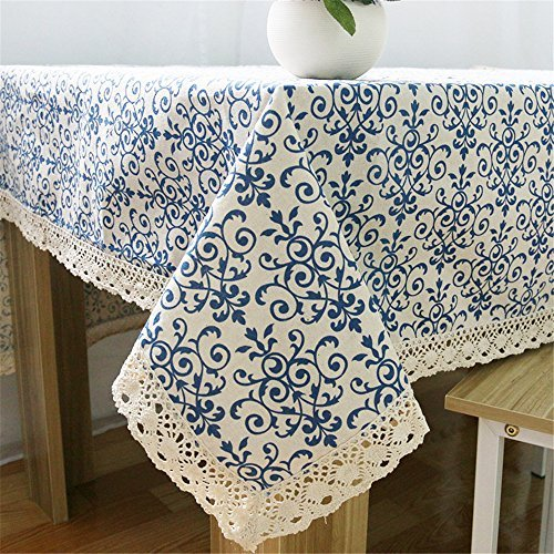 Superwinger Classic Linen Cotton Blue Flower Printed Tablecloth Dustproof Rectangular Table Cloth Wedding Party Hotel Table Cover,Assorted Size
