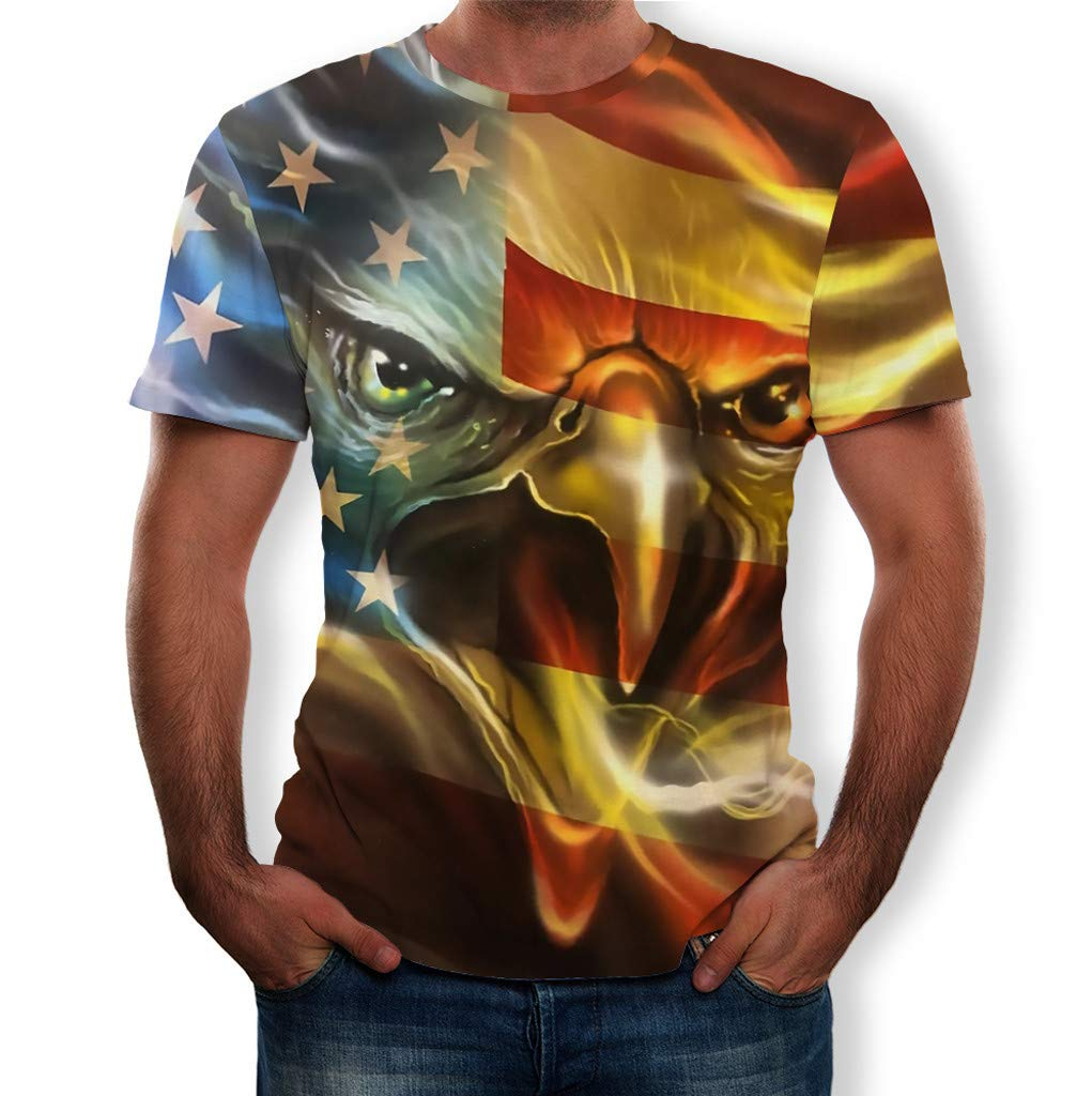 Mens Summer Casual American Flag Printed Independence Day Round Neck T-Shirt Top Blouse Men's T-Shirt