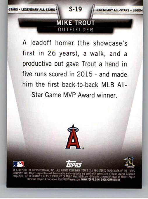 2018 Topps Update Salute #S-19 Mike Trout Los Angeles Angels Baseball Card