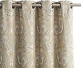 HLC.ME Paris Paisley Damask Thermal Blackout Grommet Window Curtain Panels – Pair – 84″ inch Long (Neutral) For Sale