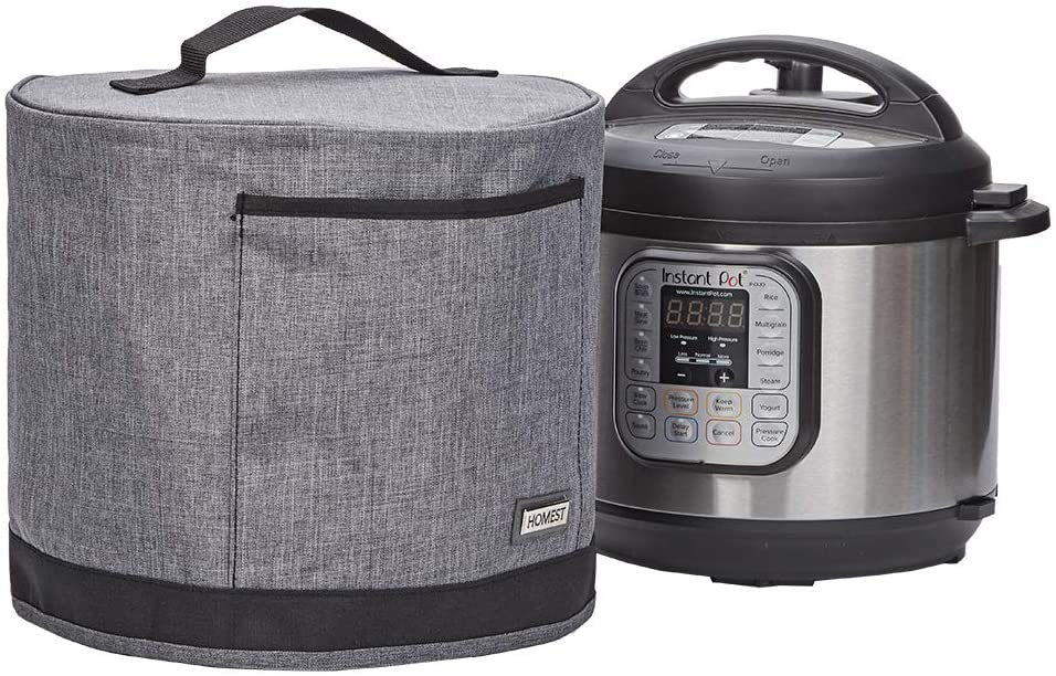 HOMEST Dust Cover with Pocket Compatible with Instant Pot 6 Quart, These Pressure Cooker Cover Have Wipe Clean Liner for Easy Cleaning, 3 Cover Sizes, Grey (Patent Design)