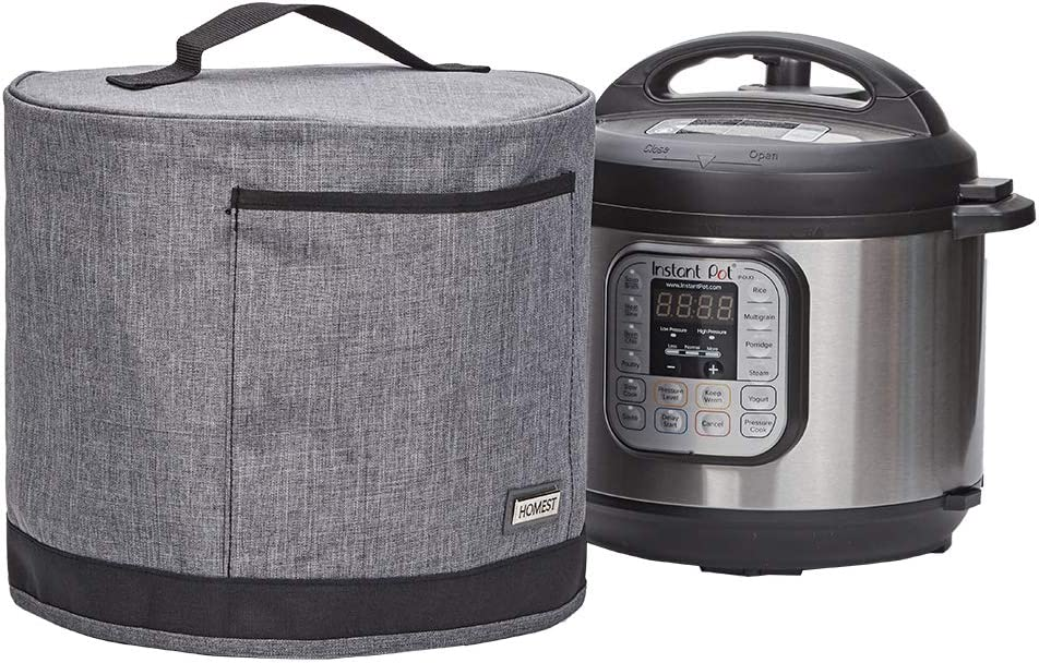 HOMEST Dust Cover with Pocket Compatible with Instant Pot 3 Quart, These Pressure Cooker Cover Have Wipe Clean Liner for Easy Cleaning, 3 Cover Sizes, Grey (Patent Design)