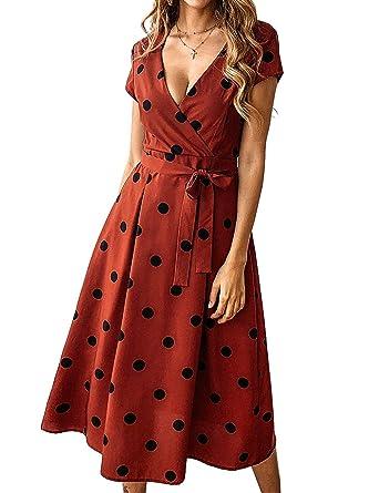 d3f0cd447da7 OQC Women's Spaghetti Strap Wrap V Neck Polka Dot Criss Cross Back Summer  Beach Midi Dress with Belt at Amazon Women's Clothing store: