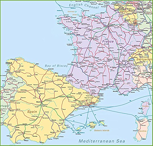 Gifts Delight LAMINATED 25x24 Poster: Map of Spain and France by Gifts Delight