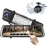 Mirror Dash Cam 9.35 inch 1080P Full Touch Screen Stream Media Front Rear Dual Lens Dashboard Recorder Waterproof…