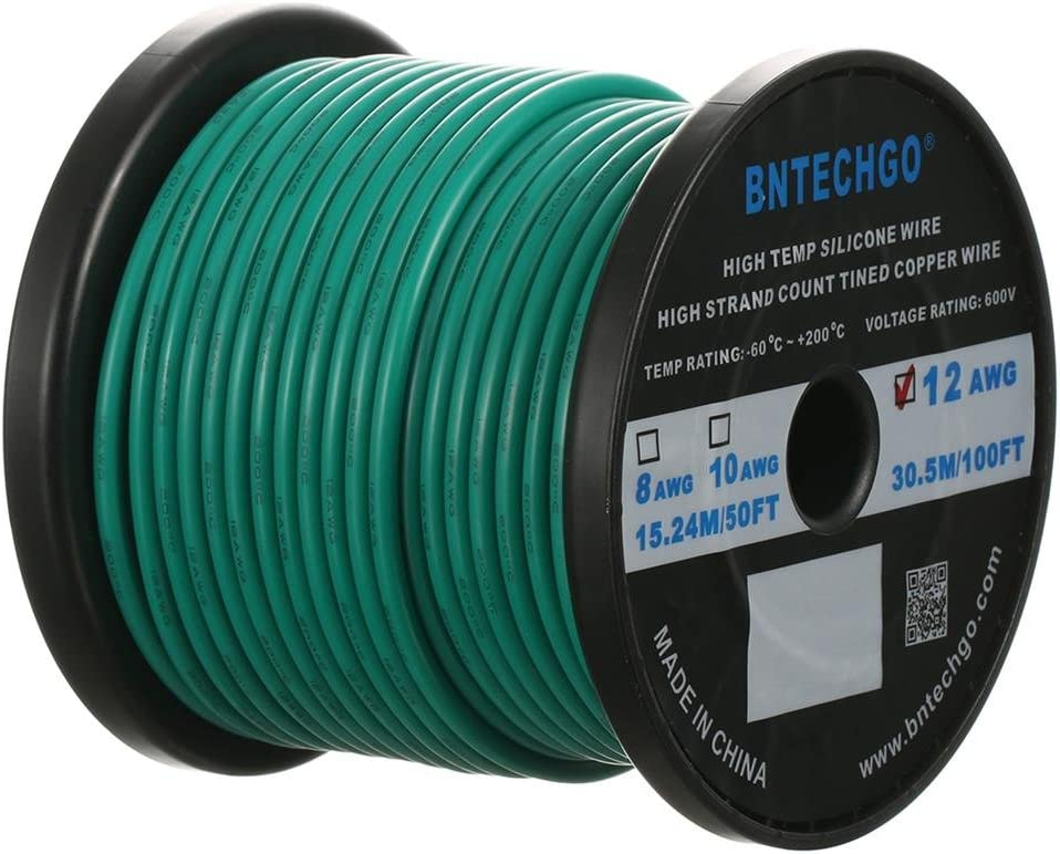 BNTECHGO 12 Gauge Silicone Wire Spool 100 ft Green Flexible 12 AWG Stranded Tinned Copper Wire