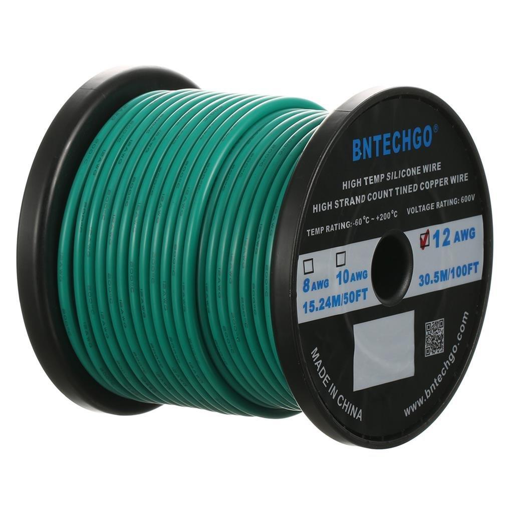Amazon.com: BNTECHGO 12 Gauge Silicone Wire Spool Green 100 feet ...