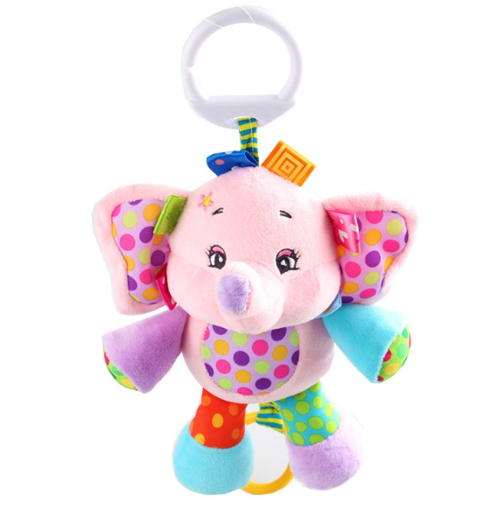 Rolina Baby Musical Stroller Crib Toys Cute Animal Rattle Plush Doll for Infant Toddler Kids,Pink Elephant