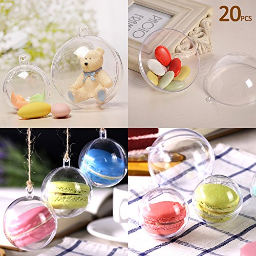 20pcs Christmas Tree Baubles Decorations Clear Round Glass