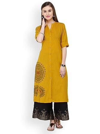 a7bf738df3af2 Amazon.com  Hiral Designer mall Indian Womens Mustard Solid Straight Kurta  Kurti Cotton Clothing Dress  Clothing