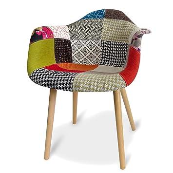 Attirant Design Patchwork Stuhl Sessel Retro Vintage Armlehnstuhl Clubsessel Bunt