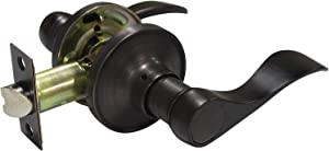 Passage Lever in Oil Rubbed Brozne for Interior Door Hall Closet,Wave Lever Style,Reversible Handles,1Pack