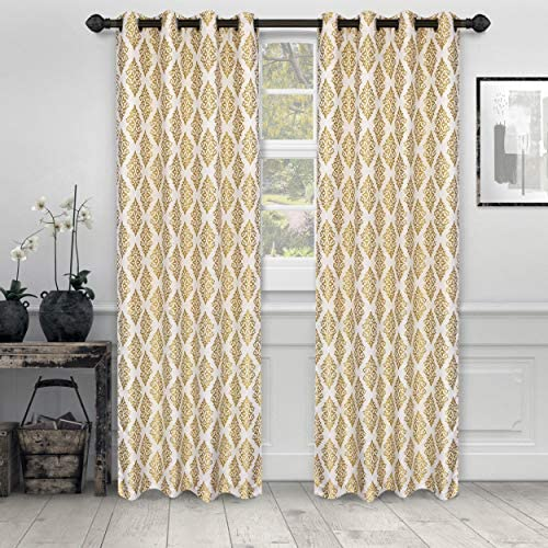 SUPERIOR Venetian Damask Jacquard Curtains with Grommet Header, 52 x 63 , Gold, Set of 2