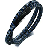 Unisex Two-tone Braided Black Blue Leather Double Wrap Men's Bracelets