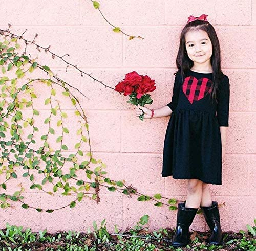Baby Red Black Dress with Love Heart Print for Infant Toddler Little Girls 1-6T