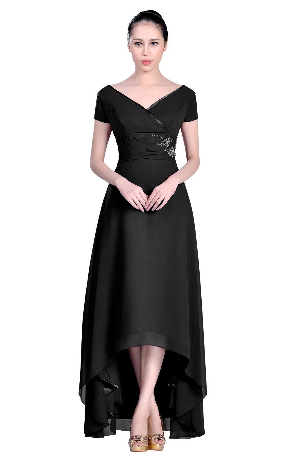 High Low Chiffon Straps V neck Short Sleeves A line Formal Mother of the Bridal Dress, Color Black ,10