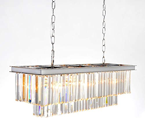 MEELIGHTING Luxury Chrome Rectangular Crystal Chandeliers Lighting Modern Pendant Ceiling Lights Rectangle Chandelier Lamp Fixture 8-Lights for Dining Room Kitchen Island