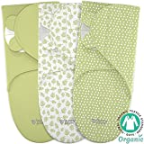 Baby Wrap Swaddle Blanket Adjustable Infant Organic Cotton Set - Unisex Newborn Boy Girl - Secure Easy Sleep Sack Bag - 3 Small in Pack - White Green Designs