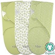 Baby Wrap Swaddle Blanket Adjustable Infant Organic Cotton Set - Unisex Newborn Boy Girl - Secure Easy Sleep Sack Bag - 3 Small in Pack - White Green Designs