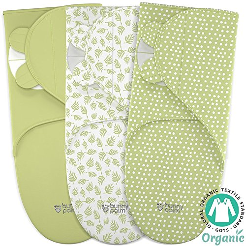 Baby Wrap Swaddle Blanket Adjustable Infant Organic Cotton Set - Unisex Newborn Boy Girl - Secure Easy Sleep Sack Bag - 3 Small in Pack - White Green (Organic Swaddle Blanket)