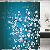 Pink and Teal Shower Curtain Bathroom Shower Curtain Teal Pink Flowers Blossom Shower Curtains with 12 Hooks Durable Fabric Bathroom Curtain Waterproof Mildew Resistant Bath Curtain Sets