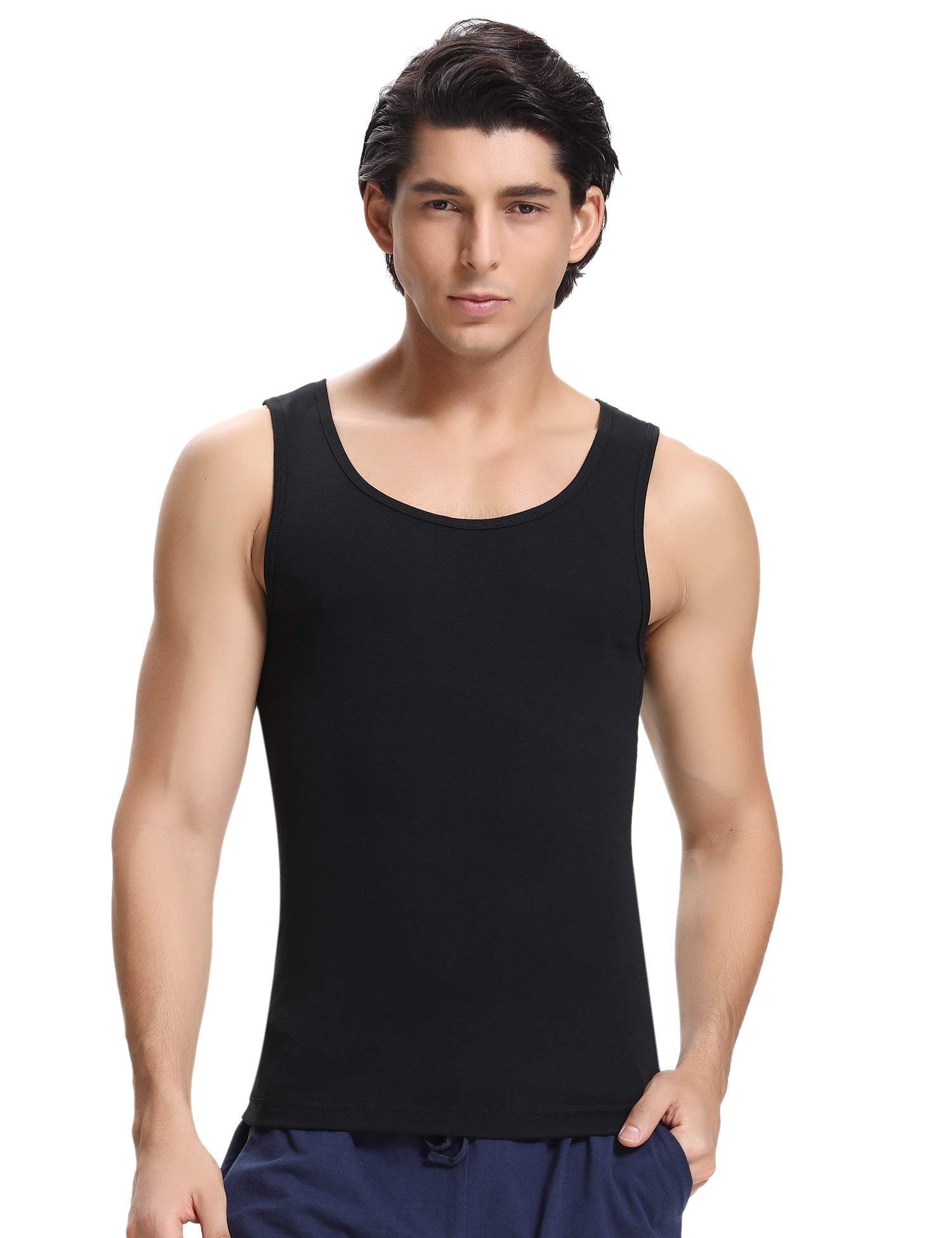 Hawiton Men's Base Muscle Fitness Tank Tops Dry Fit Workout Shirts Tees for Gym Sport