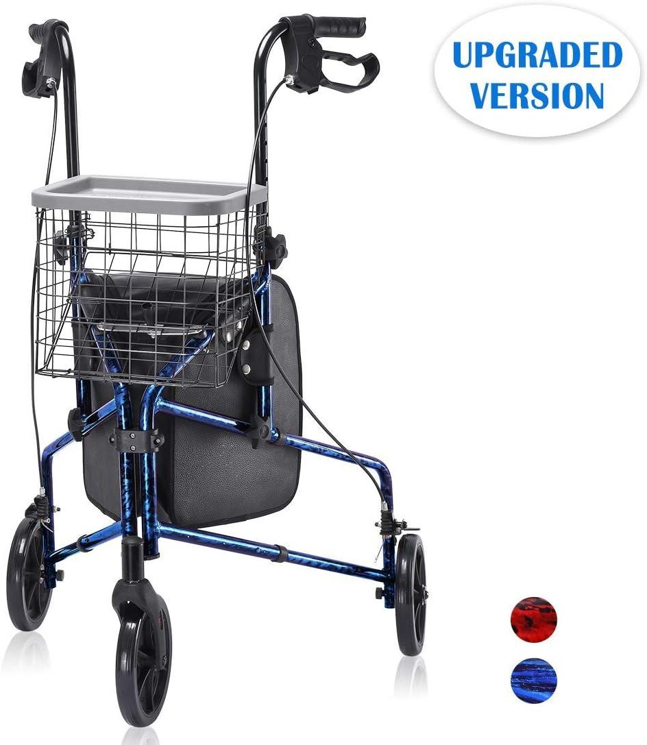 Upgraded Version! Health Line Lite Folding 3 Wheel Aluminum Rollator Walker Lightweight with Bag and Basket, Flame Blue