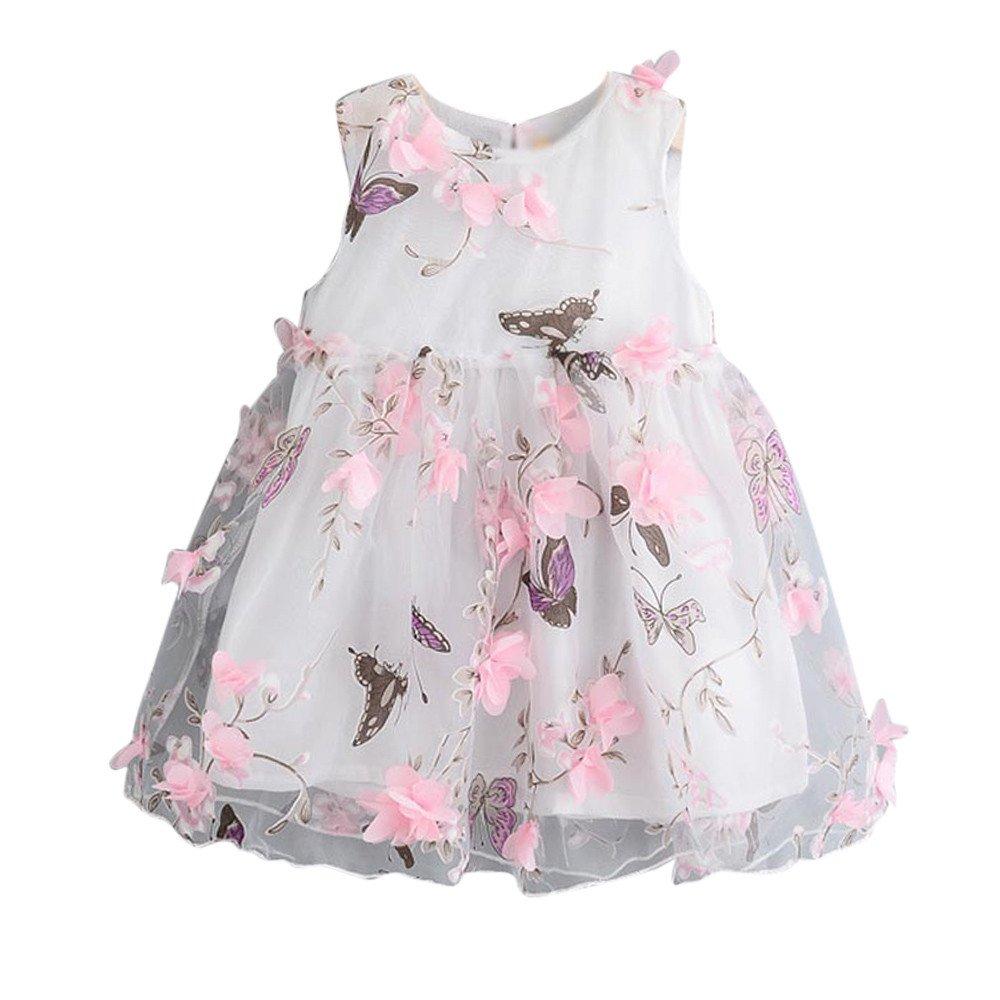 Baby Girls Tulle Tutu Dress Princess Dress Summer Flower Butterfly Sleeveless Pleated Party Birthday Beach Sundress (Pink, 3/4T)