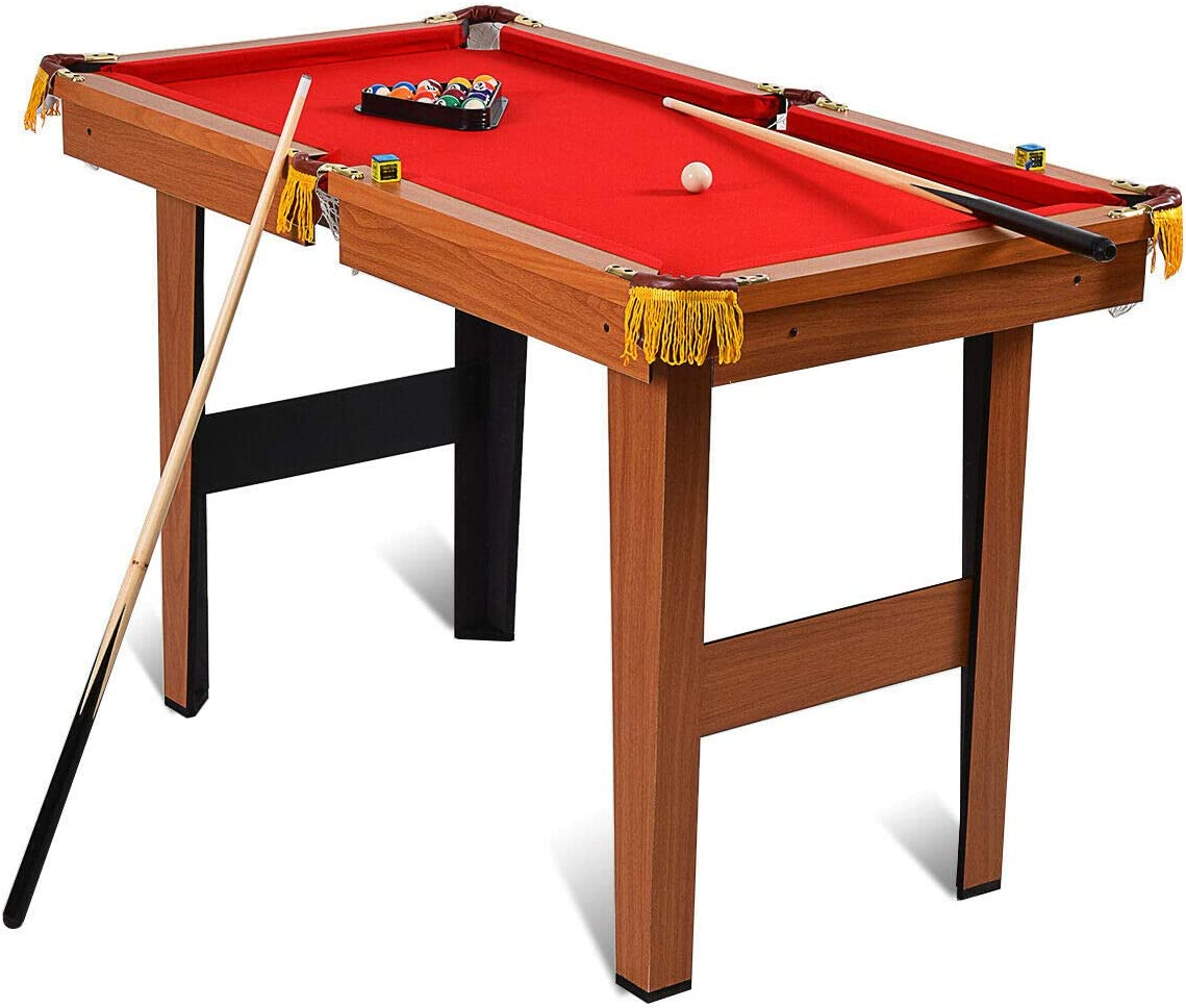 Goplus 48-Inch Billiard Table, Indoor Pool Game Table, w Balls, Sticks, Chalk, Brush and Triangle, Great Gift for Boys and Girls