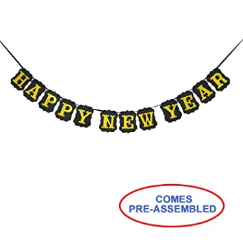 vintage black and gold happy new year banner bunting garland happy new year decorations