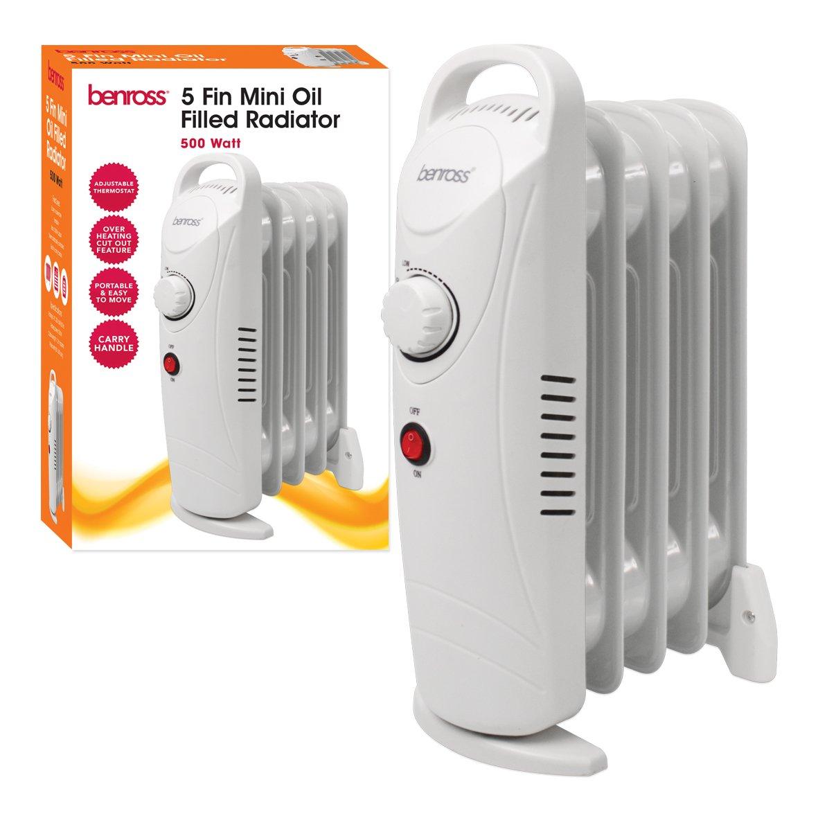 Benross 5-Fin Mini Oil Filled Radiator, 500 Watt Benross Marketing Ltd 41640