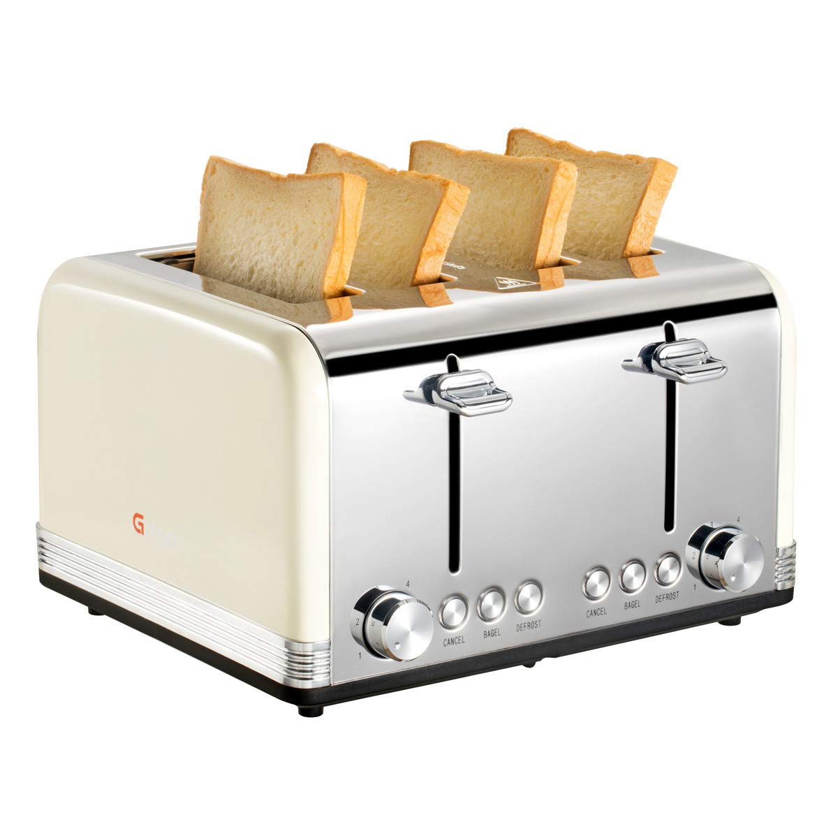 Gohyo 4 Slice Toaster   Stainless Steel with Wide Slots & Removable Crumb Tray for Bread & Bagels (4 Slice, Beige)