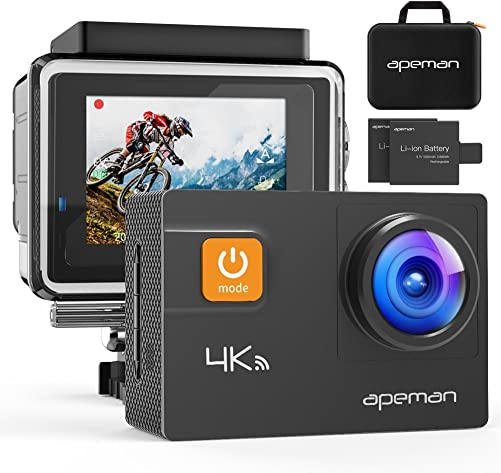 APEMAN 4K Action Camera WiFi 20MP Waterproof Underwater Cam Ultra 170 Angel 2 Inch LCD Display 2 Rechargeable Batteries 30M Waterproof Case Carrying Bag Full Accessories Kits