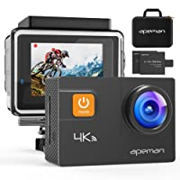 Apeman 4K - Macchina fotografica impermeabile di azione sportiva Wi-Fi 20MP 170° Grandangolare 2.0 Pollici due 1050mAh Batterie con Custodia Impermeabile e Kit di accessori, Nero