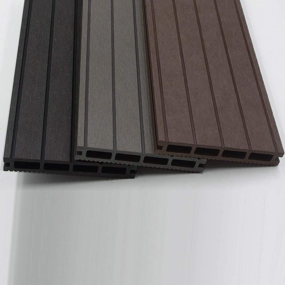 Unterkonstruktion und komplettem Zubeh/ör Home Deluxe 4 verschiedene Farben Menge: 40 m/² Inkl WPC Terrassendiele Hellgrau