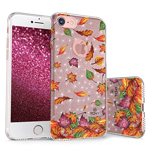 True Color Case Compatible iPhone 7 / iPhone 8 Glitter Case, Sparkase Sparkly Autumn Fall Leaves Print Three-Layer Hybrid Girly Case Shockproof TPU Outer Cover on Rose Gold Glitter
