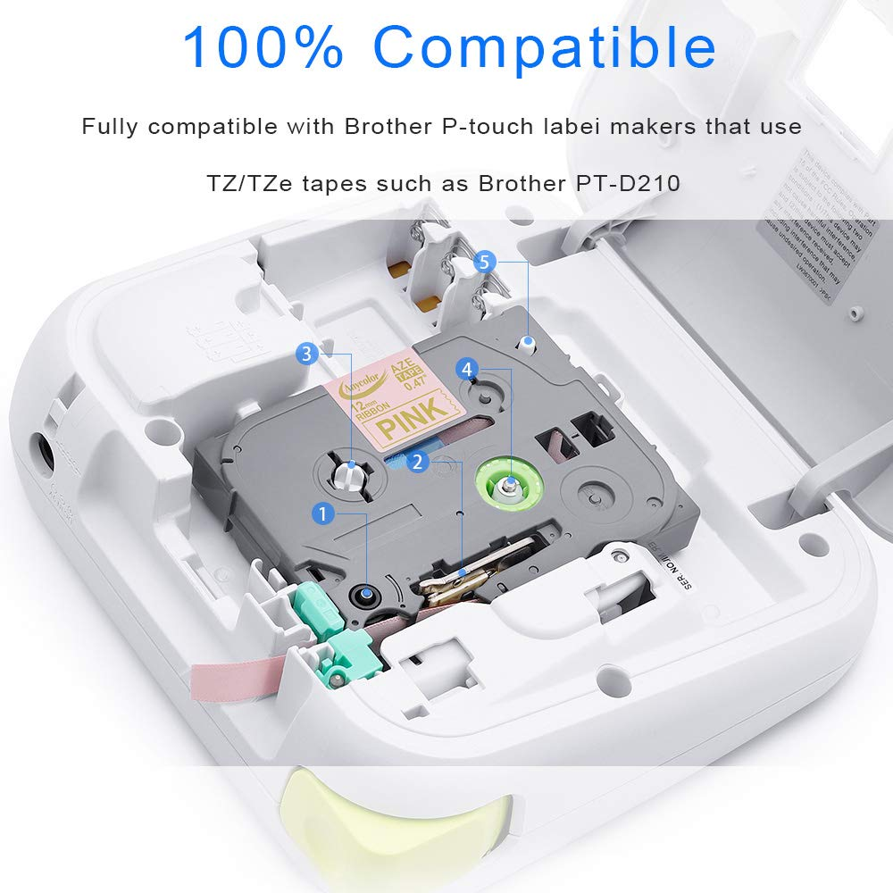 13.1 Feet Anycolor Compatible P Touch Satin Ribbon Replacement for Brother 12mm 0.47 Inch TZe-RE34 TZe-RN34 TZe-RW34 Label Tapes 4m Each,3-Pack Work with P-Touch Cube PT-H110 PT-D210 PT-D400