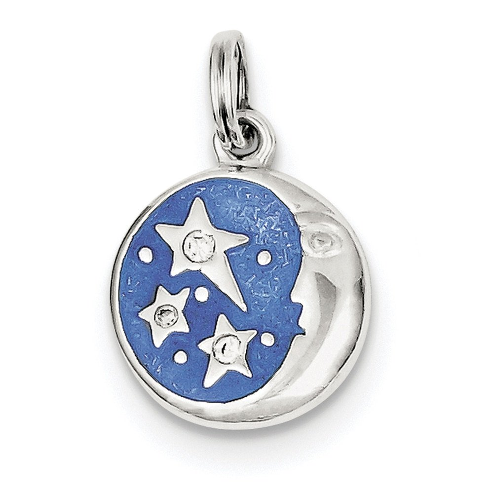 Lex /& Lu Sterling Silver Enameled and CZ Moon /& Star Charm
