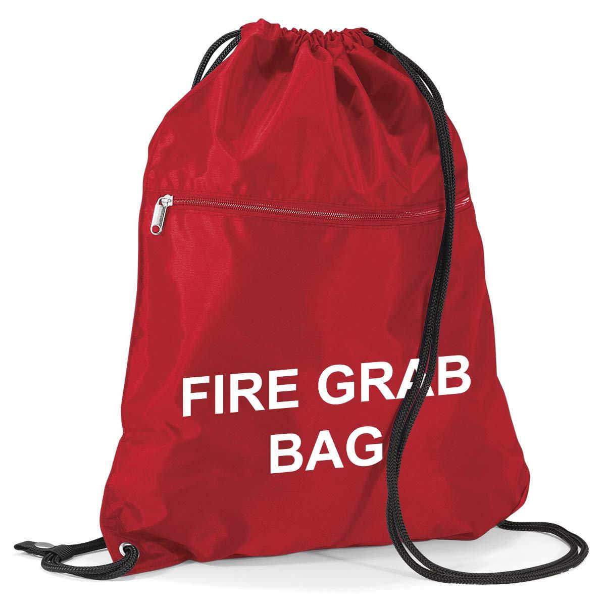 School Evacuation Fire Grab Bag - Printed Red Emergency Documents Drawstring Sack Bag