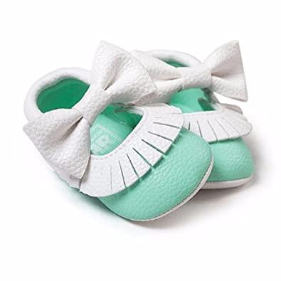 My BeezNest Baby Girl Leather Moccasins with Bowtie Mint-White