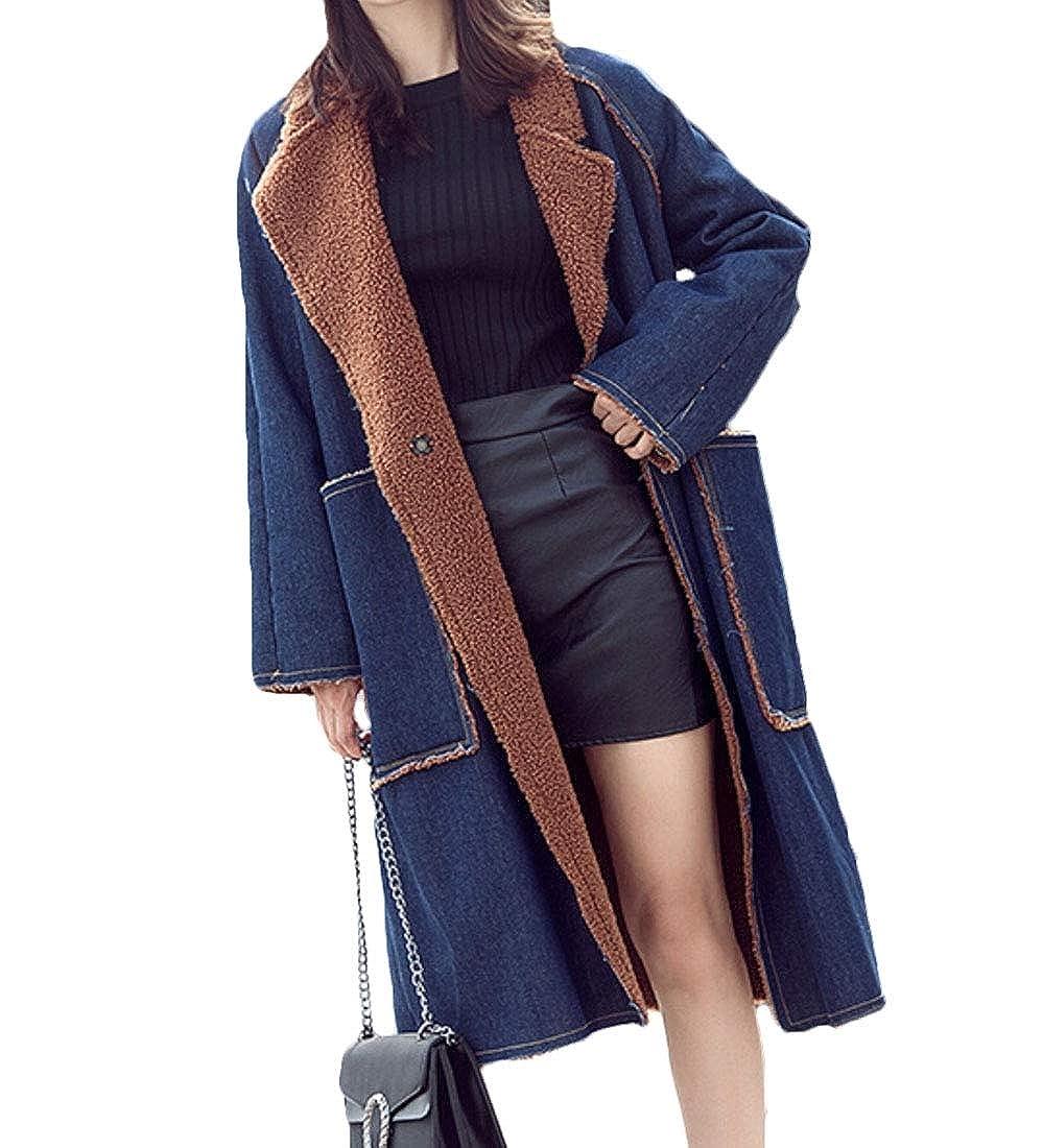 Denim bluee Keaac Women's Fuzzy Fleece Cardigan Jackets Long Coats Outwear