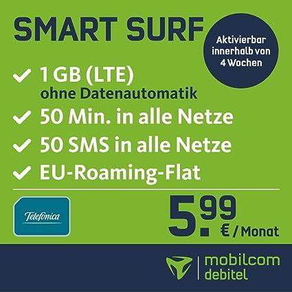 Sim Karte Nur Internet.Smart Surf Mit 1gb Lte Internet Flat Max 21 Mbit S 50 Frei Minuten 50 Sms In Alle Deutschen Netze Eu Roaming 24 Monate Laufzeit Monatlich Nur