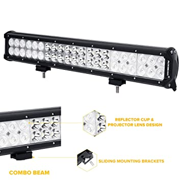 Auxbeam 20 led light bar 126w 12600lm cree driving light combo auxbeam 20 led light bar 126w 12600lm cree driving light combo beams for atv utv suv pickup van offroad jeep ford amazon automotive aloadofball Gallery